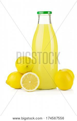 Bottle of lemon juice and fresh lemons. Isolated on white background