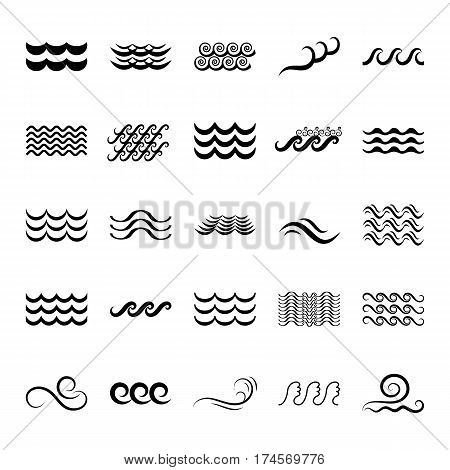 Wave Icons or Water Liquid Symbols Isolated on White. Sea River or Oceanic Flowing Sign Bending Lines