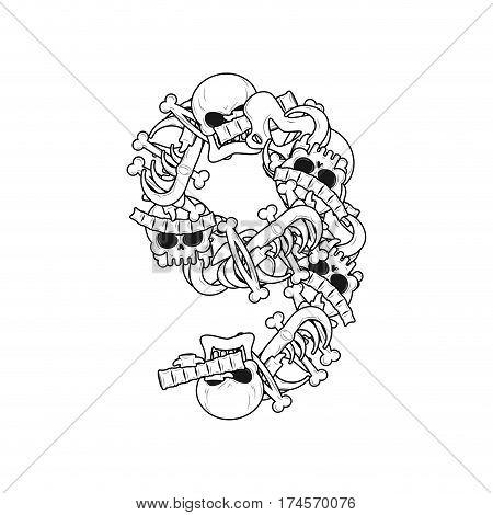 Number 9 Skeleton. Bones Font Nine . Anatomy Of An Alphabet Symbol. Dead Abc Sign