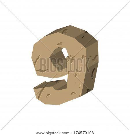 Number 9 Stone. Rock Font Nine . Stones Alphabet Symbol. Rocky Crag Abc Sign
