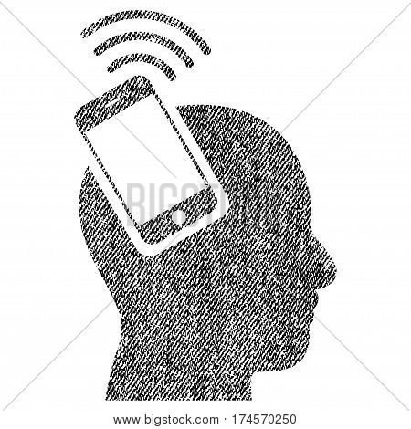 Head Smartphone Plugin Ring vector textured icon for overlay watermark stamps. Fabric black vectorized texture. Symbol with dust design. Rubber seal stamp with fiber textile structure.