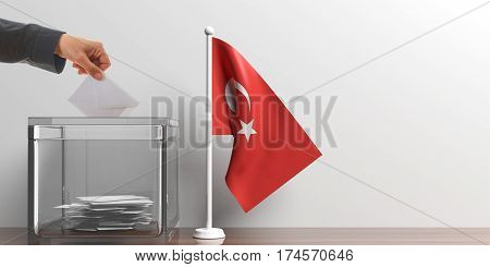 Ballot Box And A Small Turkey Flag. 3D Illustration