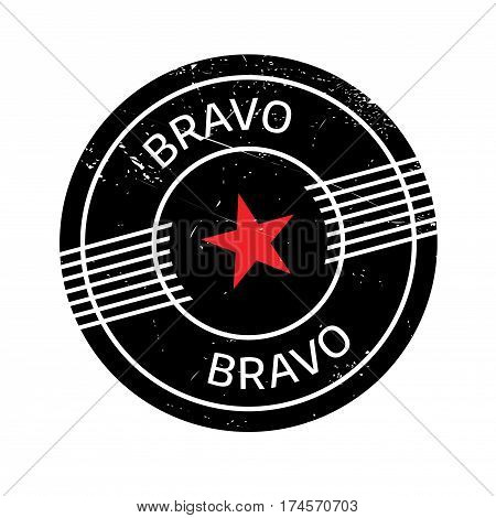 Bravo rubber stamp. Grunge design with dust scratches. Effects can be easily removed for a clean, crisp look. Color is easily changed.