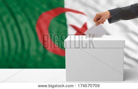 Voter On An Algerian Flag Background. 3D Illustration