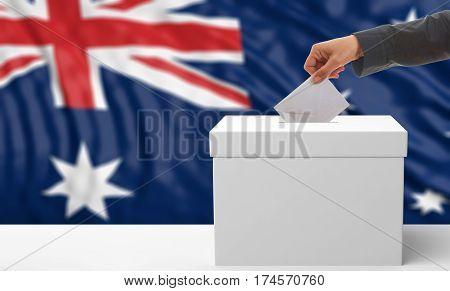 Voter On An Australia Flag Background. 3D Illustration