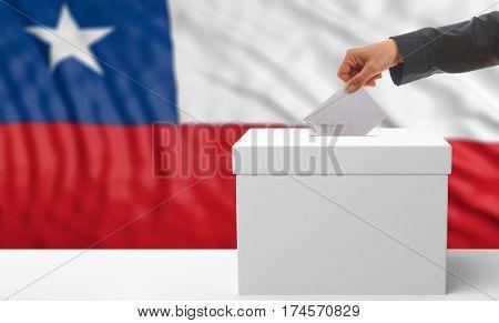 Voter On A Chile Flag Background. 3D Illustration