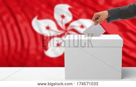 Voter On A Hong Kong Flag Background. 3D Illustration