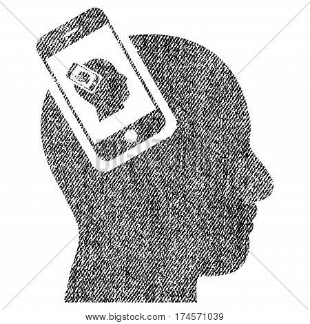 Smartphone Head Plugin Recursion vector textured icon for overlay watermark stamps. Fabric black vectorized texture. Symbol with dirty design. Rubber seal stamp with fiber textile structure.