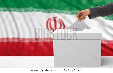 Voter On An Iran Flag Background. 3D Illustration