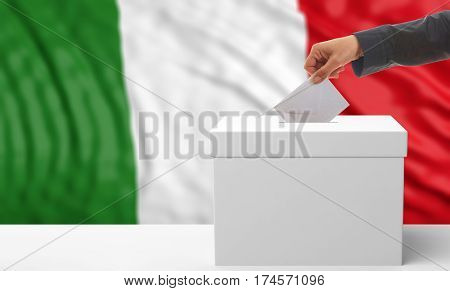 Voter On An Italy Flag Background. 3D Illustration