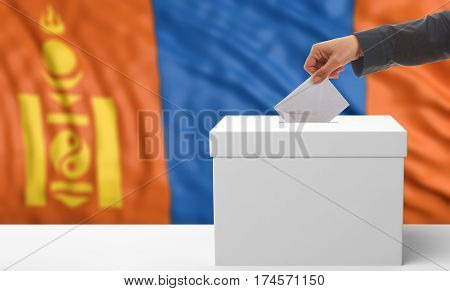 Voter On A Mongolia Flag Background. 3D Illustration