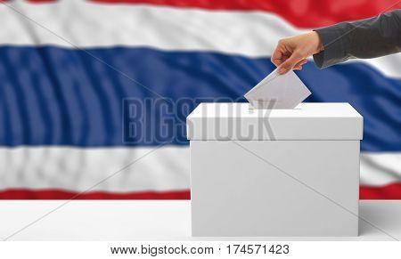 Voter On A Thailand Flag Background. 3D Illustration