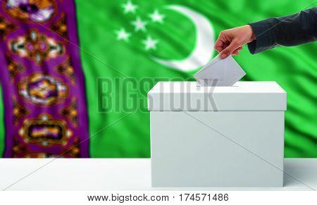Voter On A Turkmenistan Flag Background. 3D Illustration
