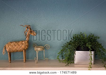 Deer Craft Of Home Interior Decoration stock photo