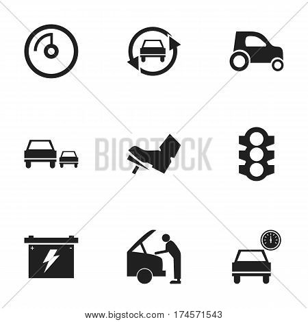 Set Of 9 Editable Traffic Icons. Includes Symbols Such As Tuning Auto, Vehicle Car, Stoplight And More. Can Be Used For Web, Mobile, UI And Infographic Design.