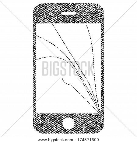 Smartphone Screen Cracks vector textured icon for overlay watermark stamps. Fabric black vectorized texture. Symbol with dirty design. Rubber seal stamp with fiber textile structure.