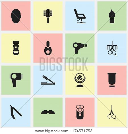 Set Of 16 Editable Barber Icons. Includes Symbols Such As Cutter Apparatus, Peeper, Hair Drier And More. Can Be Used For Web, Mobile, UI And Infographic Design.