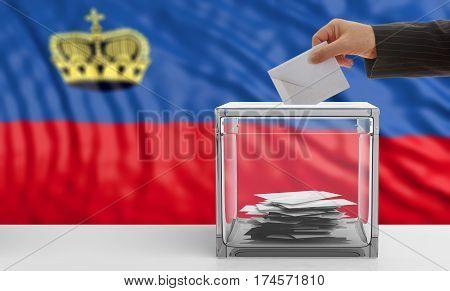 Voter On A Liechtenstein Flag Background. 3D Illustration