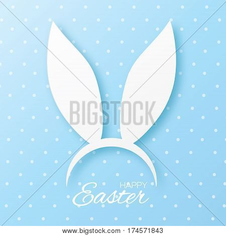 Funny Bunny. Happy Easter ears paper cut mask. Origami white Rabbit ear spring hat. Seasonal greeting card. Blue dot background. Vector illustration.
