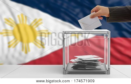 Voter On A Philippines Flag Background. 3D Illustration