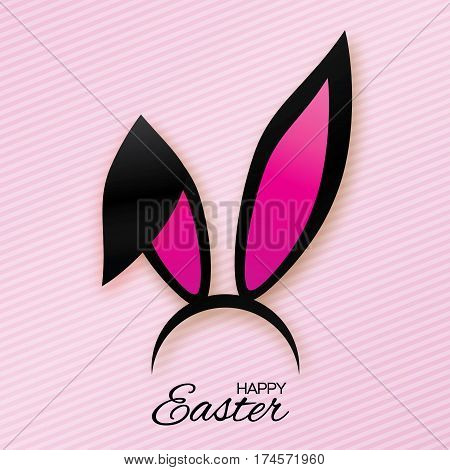 Funny Bunny. Happy Easter ears paper cut mask. Origami black Rabbit ear spring hat. Seasonal greeting card. Pink background. Vector illustration.
