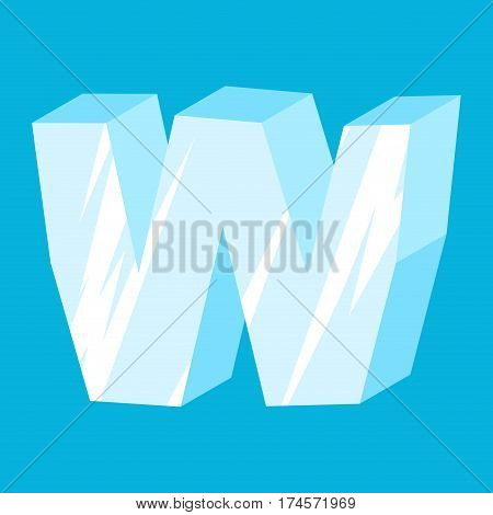 Letter W Ice Font. Icicles Alphabet. Freeze Lettering. Iceberg Abc Sign