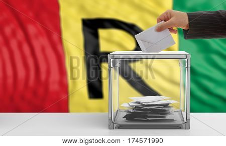 Voter On A Rwanda Flag Background. 3D Illustration