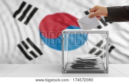 Voter On A South Korea Flag Background. 3D Illustration