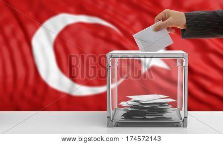 Voter On A Turkey Flag Background. 3D Illustration
