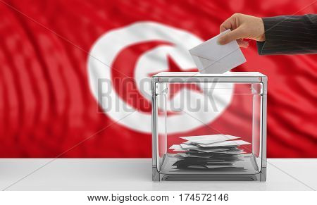 Voter On A Tunisia Flag Background. 3D Illustration