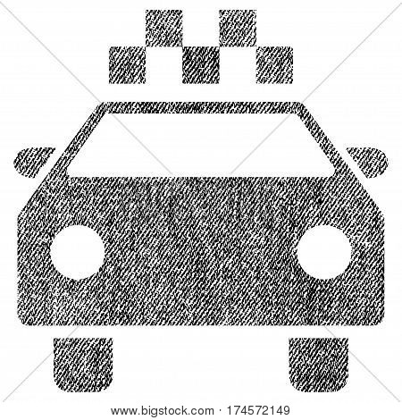 Taxi Automobile vector textured icon for overlay watermark stamps. Fabric black vectorized texture. Symbol with scratched design. Rubber seal stamp with fiber textile structure.