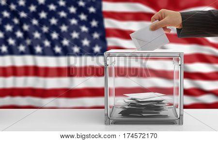 Voter On An Usa Flag Background. 3D Illustration