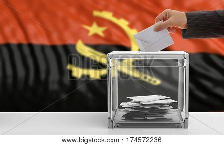 Voter On An Angola Flag Background. 3D Illustration