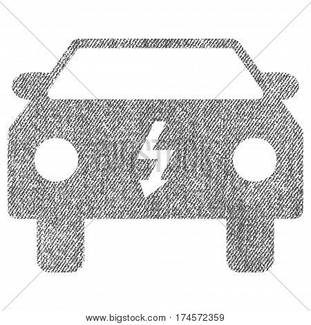 Electric Car vector textured icon for overlay watermark stamps. Fabric gray vectorized texture. Symbol with scratched design. Rubber seal stamp with fiber textile structure.