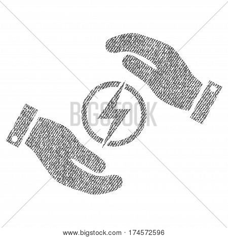 Electric Energy Insurance Hands vector textured icon for overlay watermark stamps. Fabric gray vectorized texture. Symbol with unclean design. Rubber seal stamp with fiber textile structure.