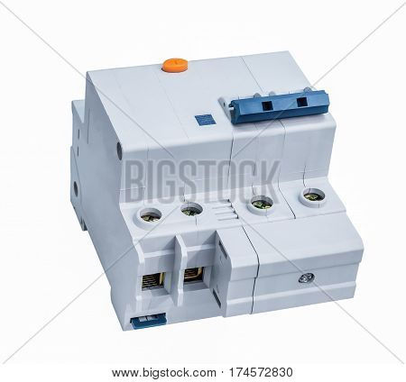 Electric circuit breaker isolated on white background