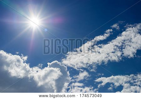 Strong sun and skies,Clear sky background with tiny clouds