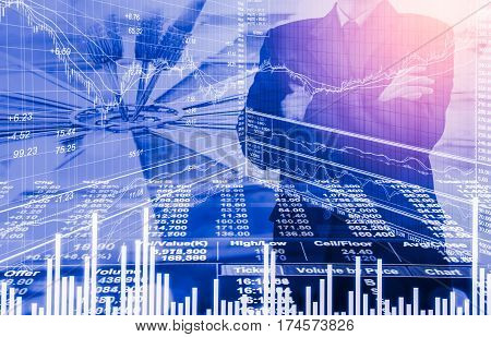 Business Man On Digital Stock Market Financial Indicator Background. Digital Business And Stock Mark