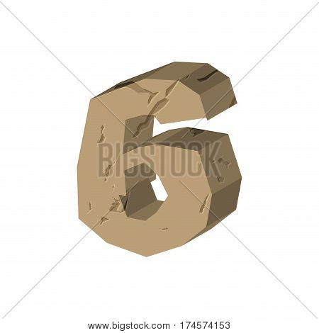 Number 6 Stone. Rock Font Six. Stones Alphabet Symbol. Rocky Crag Abc Sign