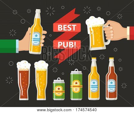 Two hands holding the beer bottle and beer glass. A beer bottle, can, a mug, a glass. Symbol or design elements for restaurant, beer pub or cafe. Flat style.
