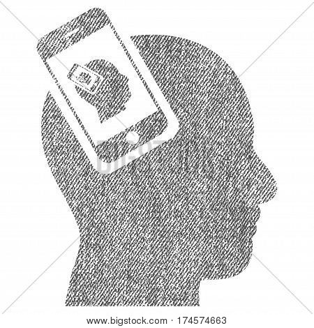 Smartphone Head Plugin Recursion vector textured icon for overlay watermark stamps. Fabric gray vectorized texture. Symbol with unclean design. Rubber seal stamp with fiber textile structure.