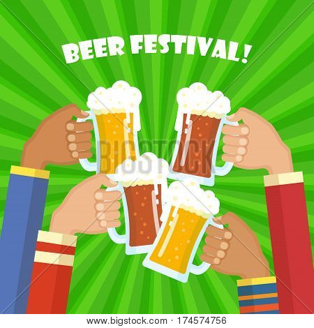 Human hands toasting beer. Icons set. Concept of Beer Festival. Flat vector illustration. People holding beer glasses and clinking.