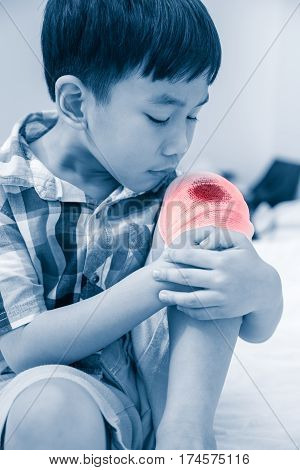 Child Injured On His Knee. Children Have Been An Accident