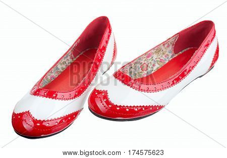 Women leather shoes isolated on a white background.