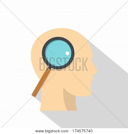 Profile of the head with magnifying glass icon. Flat illustration of profile of the head with magnifying glass vector icon for web isolated on white background