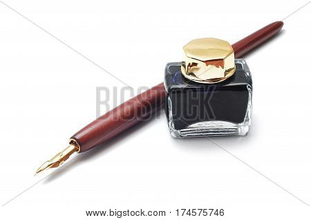 quill and inkwell isolated on white background