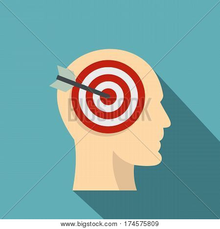 Target goal in human head icon. Flat illustration of target goal in human head vector icon for web isolated on baby blue background