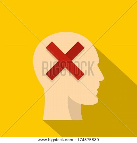 Man head silhouette with red cross inside icon. Flat illustration of man head silhouette with red cross inside vector icon for web isolated on yellow background