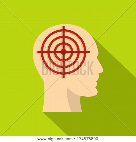 Human head with red crosshair icon. Flat illustration of human head with red crosshair vector icon for web isolated on lime background