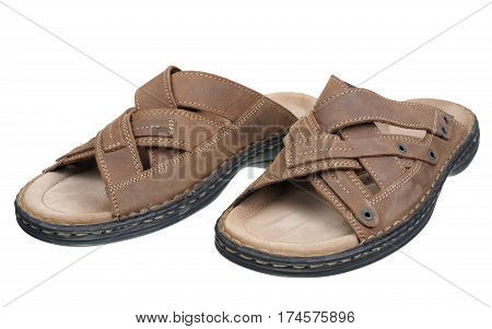 Men leather shoes isolated on a white background.